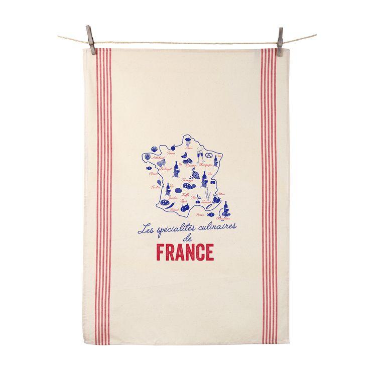 Torchon Spécialités culinaires de France - Tissage de l´ouest