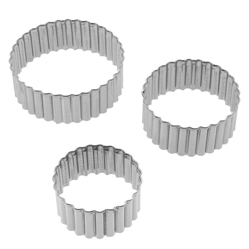 Set de 3 emporte-pièces rond cannelé en inox 4, 5 et 6 cm - Alice Délice