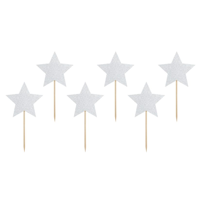 Décor de gâteau : 6 étoiles argentées 11,5 cm - Party Deco