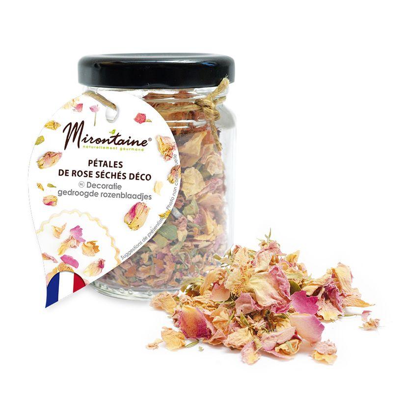 Pot de pétales de roses séchées comestibles pour décoration de gâteaux 4.5 gr - Mirontaine