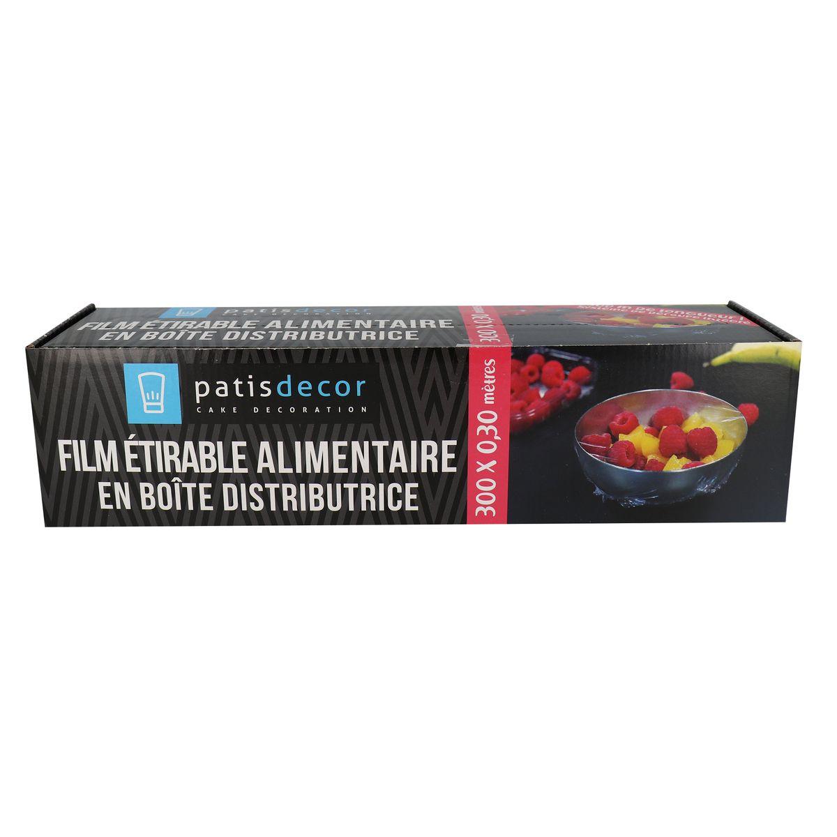 Film étirable alimentaire en boîte distributrice 300 x 0,30 m - Patisdecor