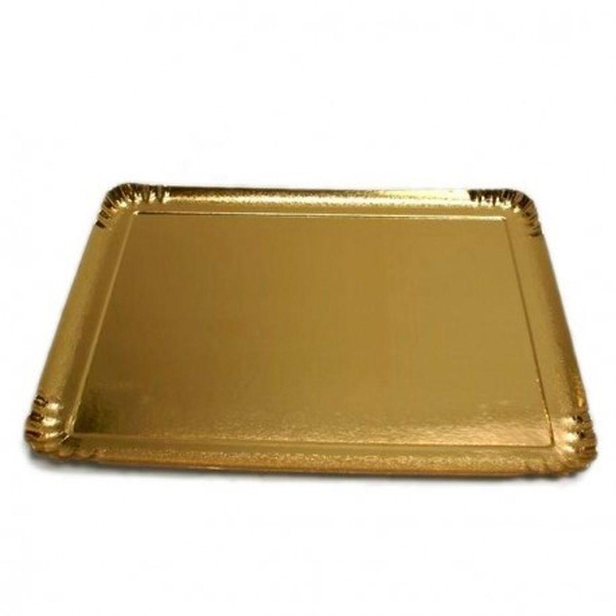25 plateaux rectangulaires en carton dorés 19 x 28 cm - Patisdecor