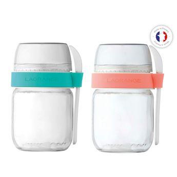Achat en ligne 2 pots de yaourts en verre compartimentés avec petite cuillère - Lagrange