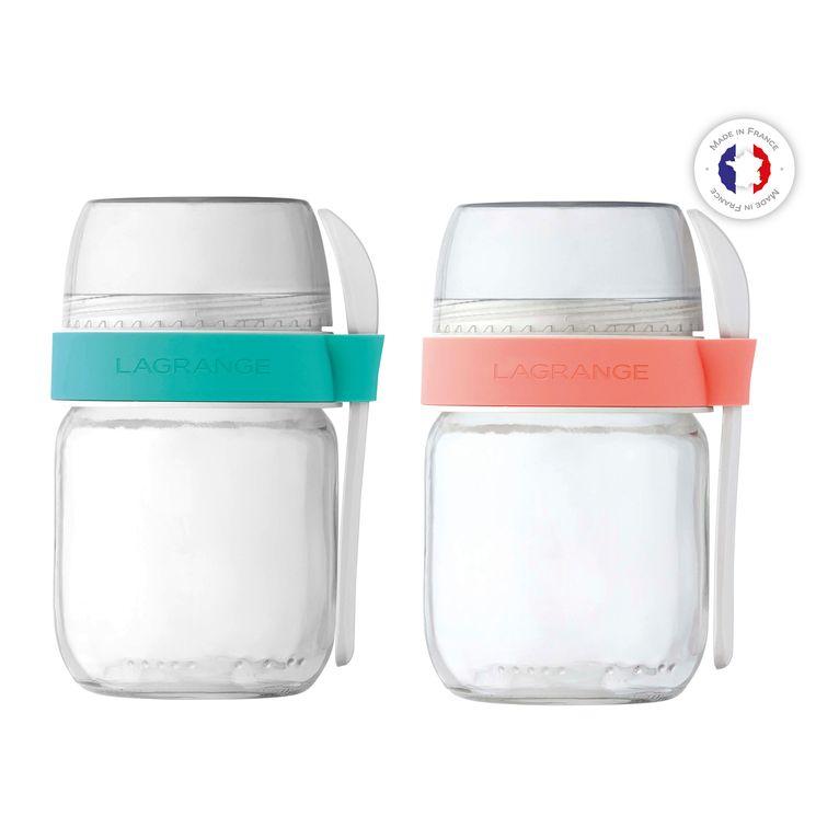 2 pots de yaourts en verre compartimentés avec petite cuillère - Lagrange
