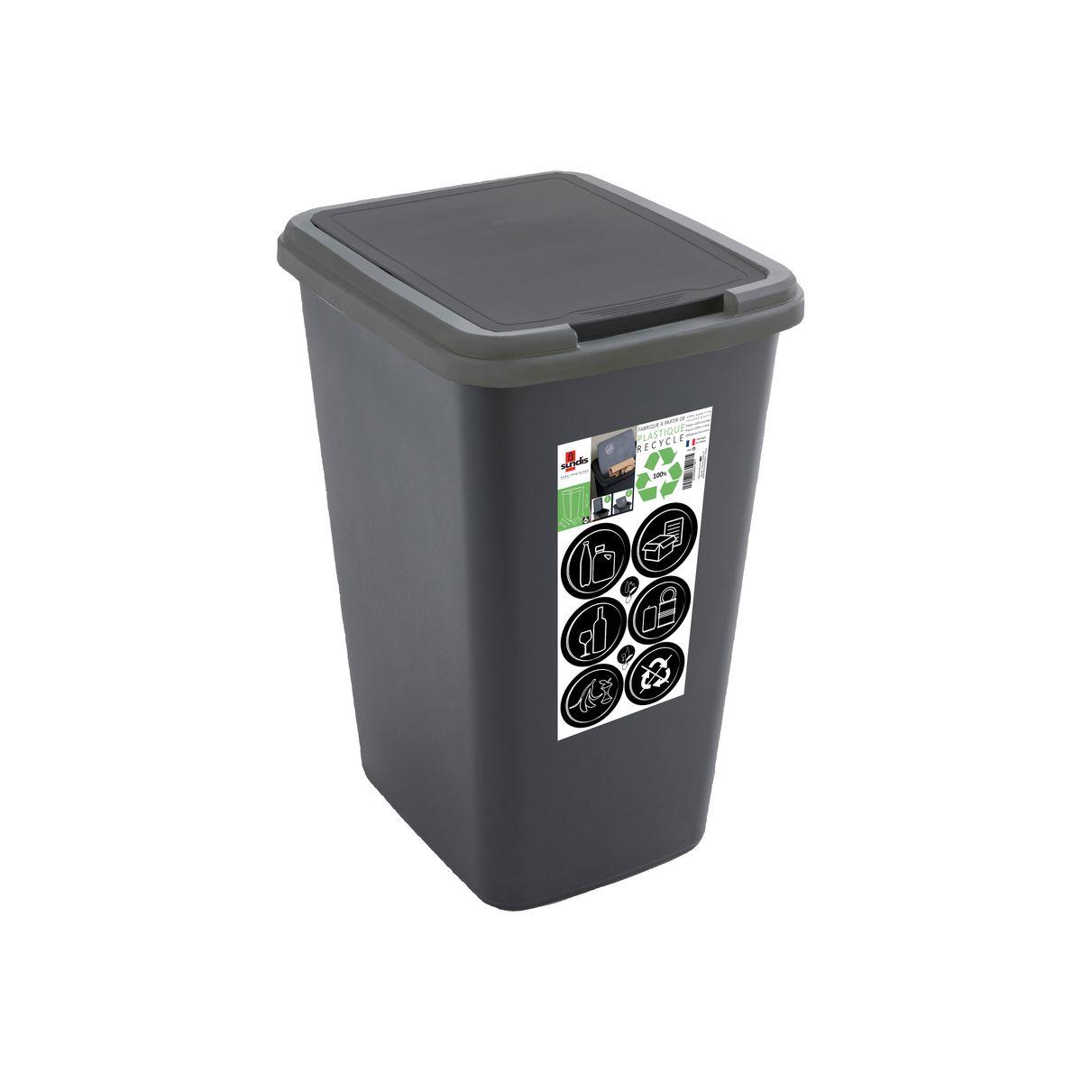 Poubelle en plastique recyclé 50L - Sundis