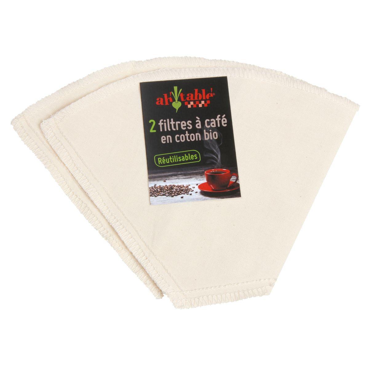 2 filtres à café en coton bio réutilisables - Ah! Table!