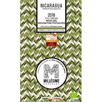 Achat en ligne Chocolat Nicaragua Bio Noir 65% nougatine à la pistache 70g - Millésime