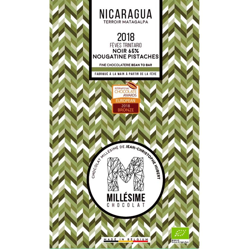 Chocolat Nicaragua Bio Noir 65% nougatine à la pistache 70g - Millésime