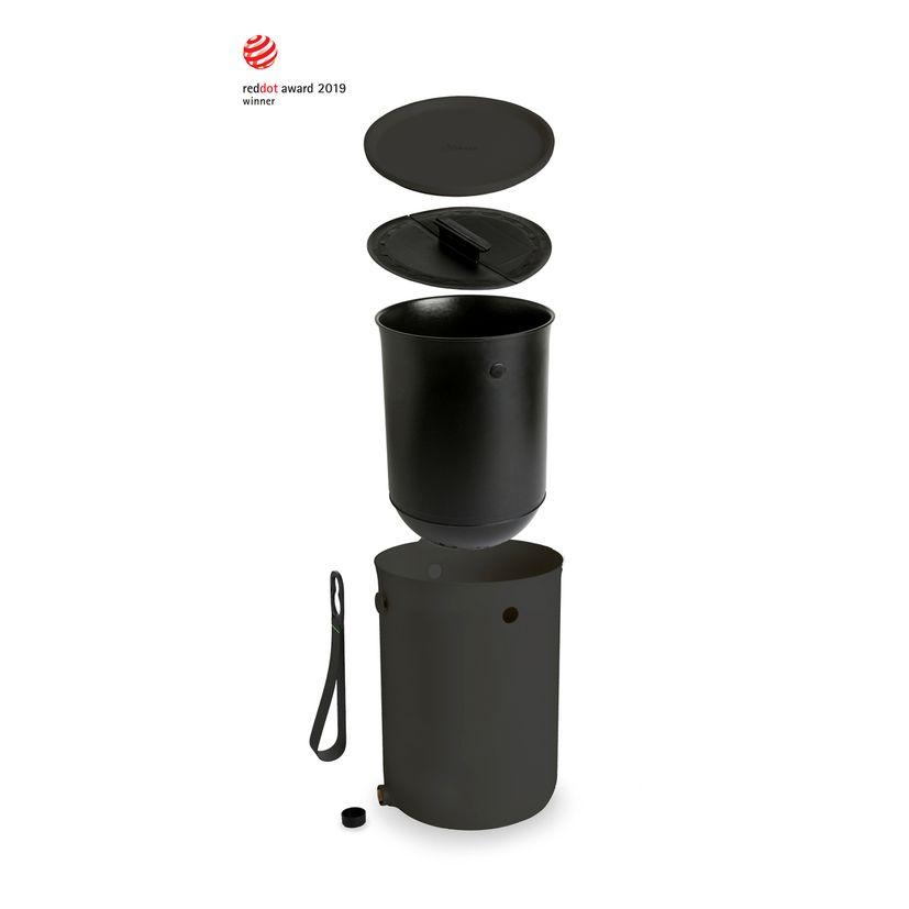 Composteur de cuisine en plastique recyclé noir 9.6l - Bokashi