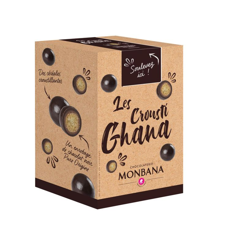 Croustilles de céréales enrobées de chocolat au lait et de chocolat noir 135g - Monbana