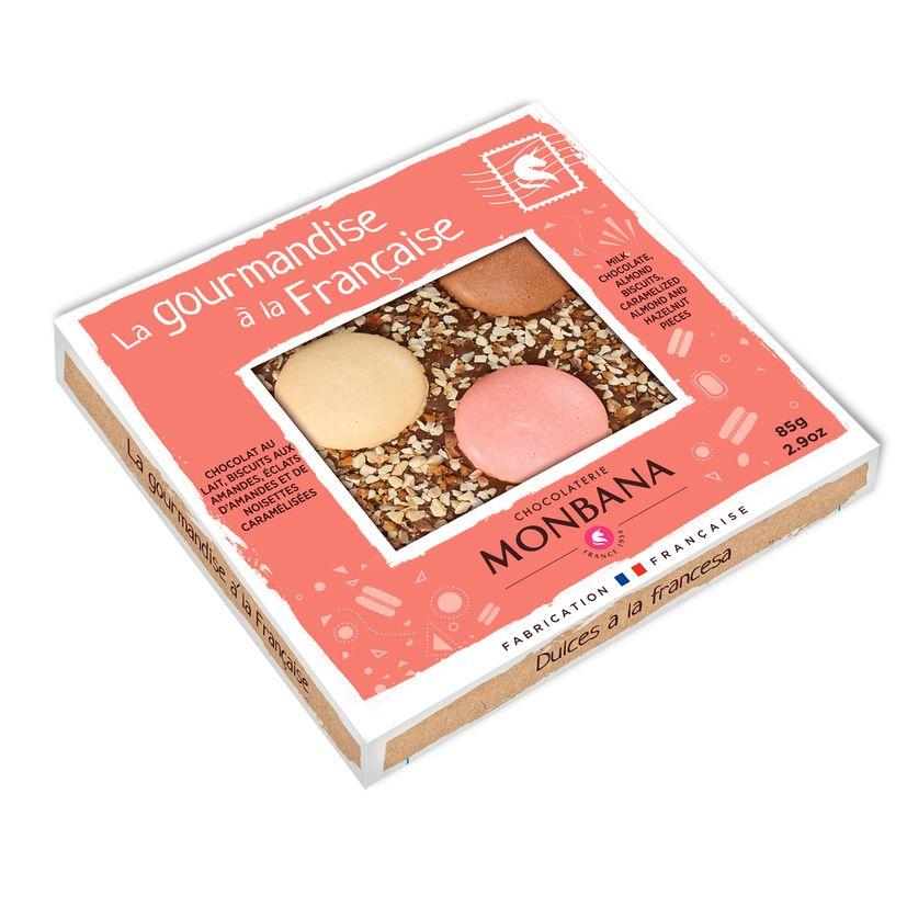 Tablette de chocolat au lait aux biscuits et aux amandes 85g - Monbana