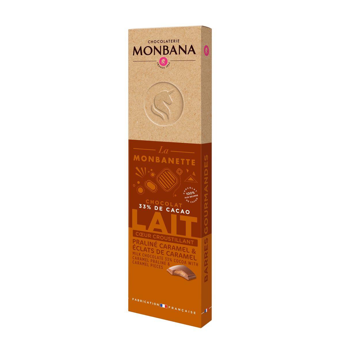 Barre de chocolat au lait fourré au praliné caramel 40g - Monbana