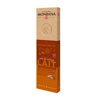 Achat en ligne Barre de chocolat au lait fourré au praliné caramel 40g - Monbana