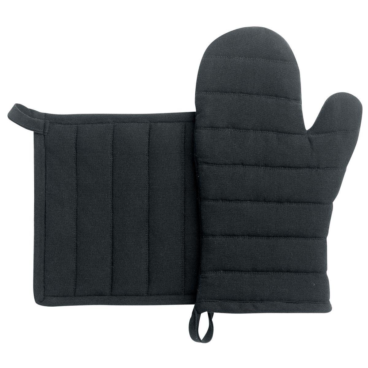 Lot de gants et maniques en coton recyclé noir - Winkler