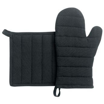 Achat en ligne Lot de gants et maniques en coton recyclé noir - Winkler