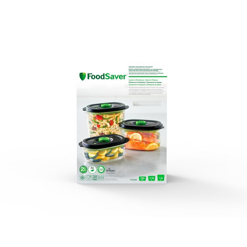 3 boîtes fraîcheur pour machine sous vide 700 ml + 1.2 l + 1.8 l - Foodsaver