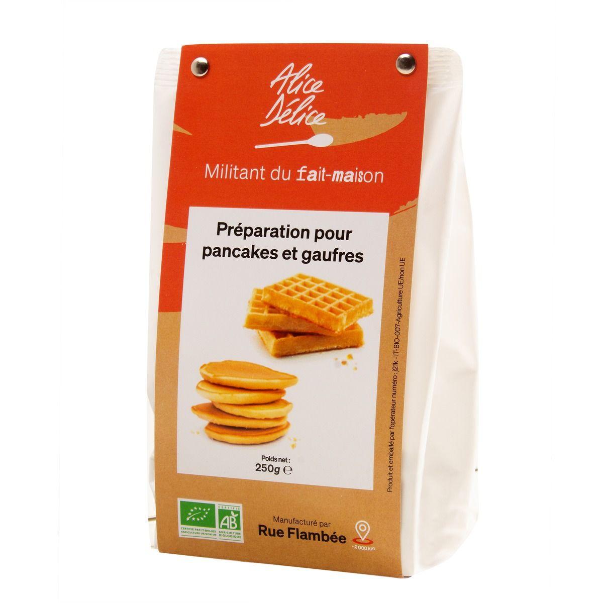 Préparation pancakes et gaufres bio 250gr sans gluten - Alice Délice