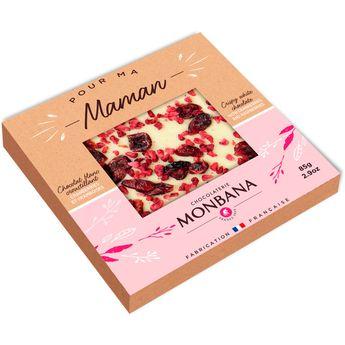 Achat en ligne Tablette de chocolat blanc croustillant aux cranberries et aux framboises 85g - Monbana