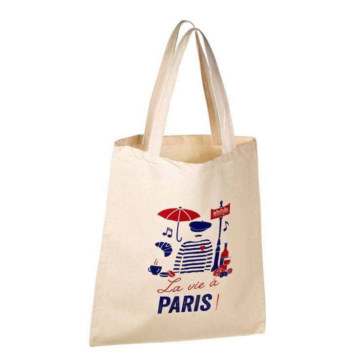 Totebag La vie à Paris 100% coton - Tissage de L´Ouest