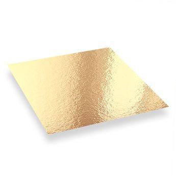 Achat en ligne 5 supports à gâteaux carrés dorés et noirs 16 x 16 cm - Patisdecor