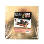 5 supports à gâteaux carrés dorés et noirs 18 x 18 cm - Patisdecor