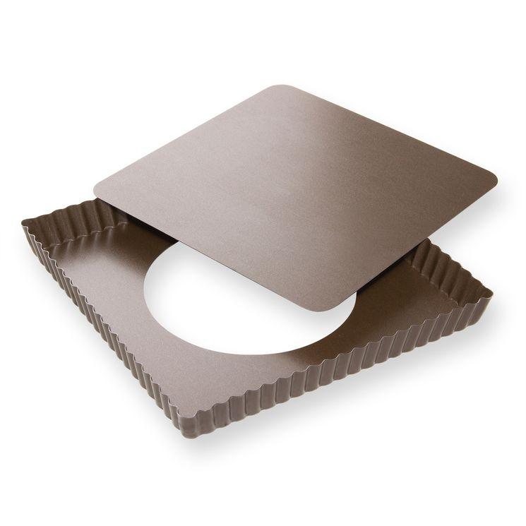 Moule à tarte carré en métal anti adhérent 6/8 parts 23 cm - Alice Délice