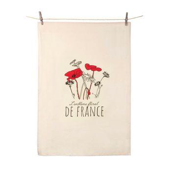 Achat en ligne Torchon écru Emblème floral - Tissage de l´ouest