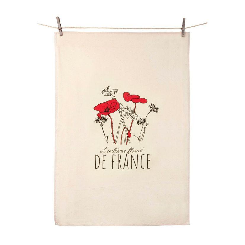Torchon écru Emblème floral - Tissage de l´ouest