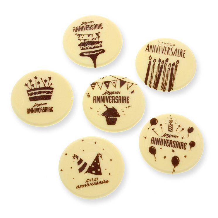 Décor en chocolat : 6 plaques en chocolat Joyeux Anniversaire 5 cm