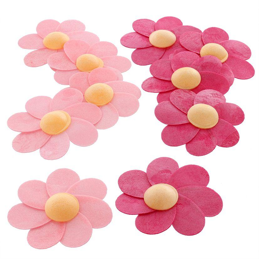 Décor en azyme : 10 grandes fleurs roses 6 cm