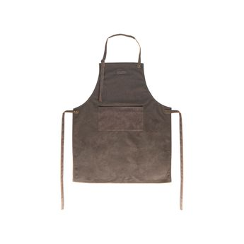 Achat en ligne Tablier en toile et cuir 80x66.5cm marron - Gusta