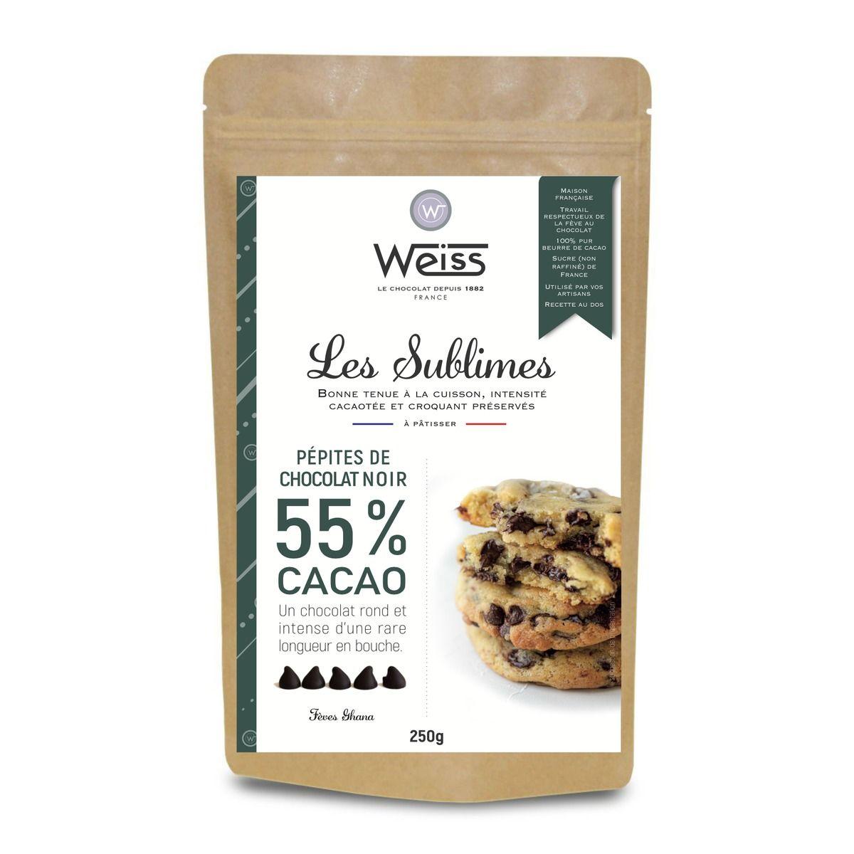 Pépites de chocolat noir 55% Les Sublimes 250 gr - Weiss