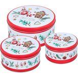 Set de 3 boîtes à biscuits rondes en métal Noël - Birkmann