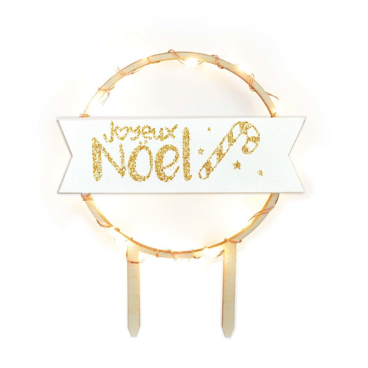 Décor de bûche et gâteau : Joyeux Noël en bois avec led 12 cm - Scrapcooking