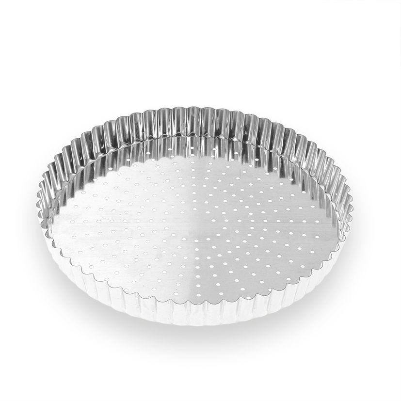 Moule à tarte perforé fond amovible en fer blanc 6/8 parts 24 cm - Alice Délice