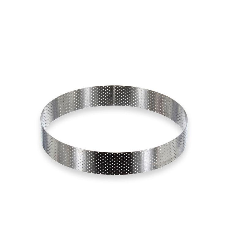 Cercle à tarte haut en inox perforé 20,5 x 3,5 cm - De Buyer