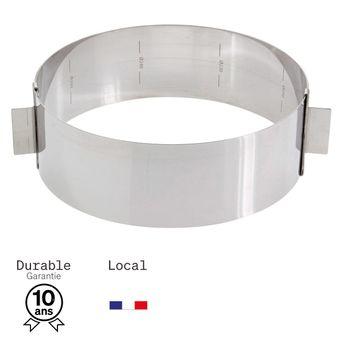 Achat en ligne Cercle à pâtisserie extensible en inox de 16 à 28 cm, de 6 à 14 parts, hauteur 6 cm - Alice Délice