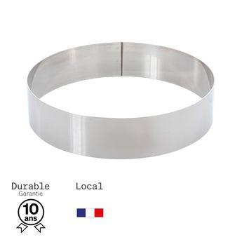 Achat en ligne Cercle à mousse et entremet en inox 4/6 parts 20 cm hauteur 4.5 cm - Alice Délice