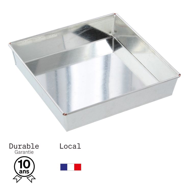 Moule carré avec fond amovible en fer blanc 9/12 parts 22 cm - Alice Délice