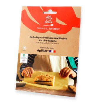 Achat en ligne Lot de 2 emballages alimentaires réutilisables coton et cire d´abeille taille L - Alice Delice