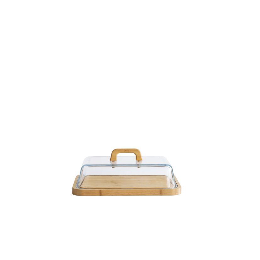 Boîte à fromage en verre et bambou 34x25x9,5 - Pebbly