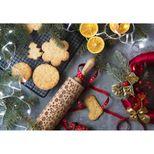Rouleau à empreintes en bois rennes de Noël 25 cm - Alice Délice