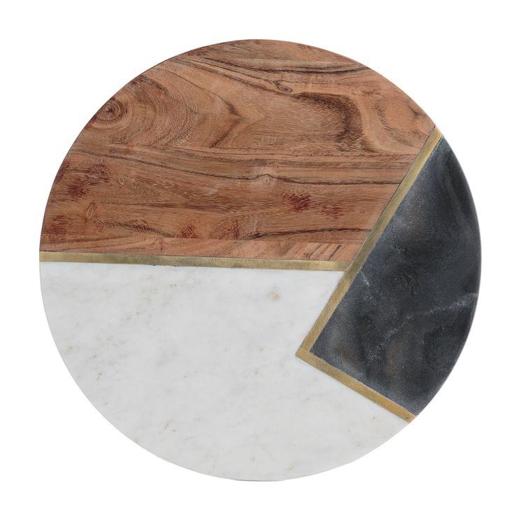Planche en bois d'acacia, marbre et pierre 30 cm - Typhoon