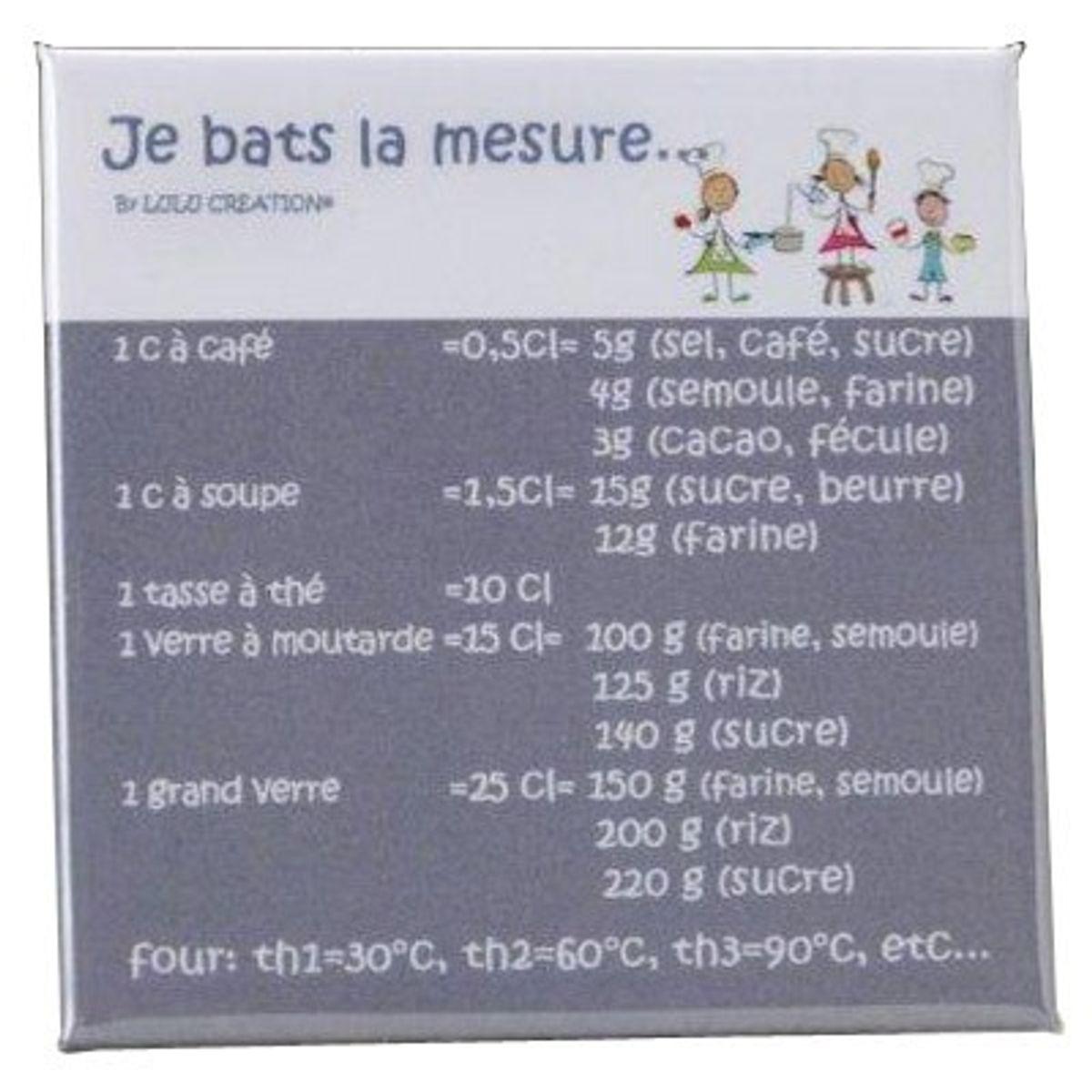 """MAGNET """"JE BATS LA MESURE"""" GRIS - LULU CREATION"""