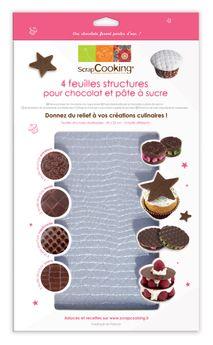 Achat en ligne 4 feuilles structures pour chocolat - Scrapcooking