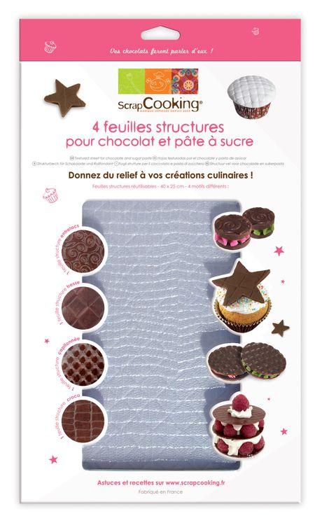 4 feuilles structures pour chocolat - Scrapcooking